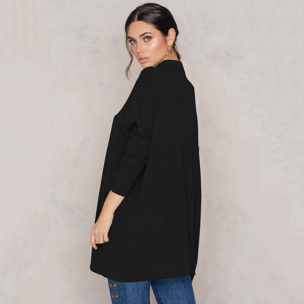 Black Turtleneck, Women's Knitted Sweater, Casual Long Sleeve Oversize Pullover 6