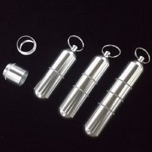 Outdoor Aluminum Waterproof Pill Shaped Bottle Sealed Bottle Holder Container Keychain Medicine Storage Boxes(China)