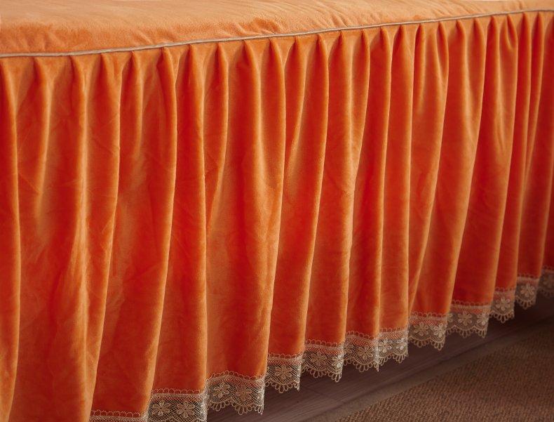3Pcs Fleece Bed Skirt Set W/ Pillowcases, Mattress Protective Cover 34