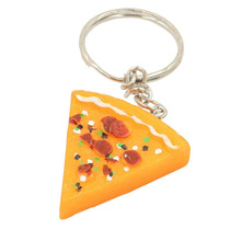 2pcs Mini Simulation Resin Pizza Keychain Food Theme Keyring Key Holder Handbag Purse Accessories Best GIft For Gastronome