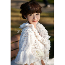 Tempting Wedding Jacket Accessories Bridal Bolero Winter Wraps Coat Stole Faux Fur Fabric For Brides beige Hair shawl(China)