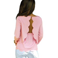 Women Chiffon Blouse Sexy Open Back Scalloped Cutout Camisa Feminina 3/4 Sleeve Layered Casual Tunic Shirt Tops Pink Ropa Mujer