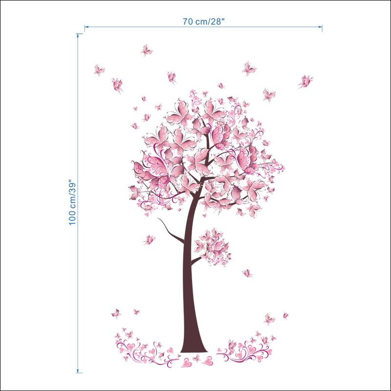 HTB1WCs7oZuYBuNkSmRyq6AA3pXaK - Pink butterfly flower Tree Wall Stickers