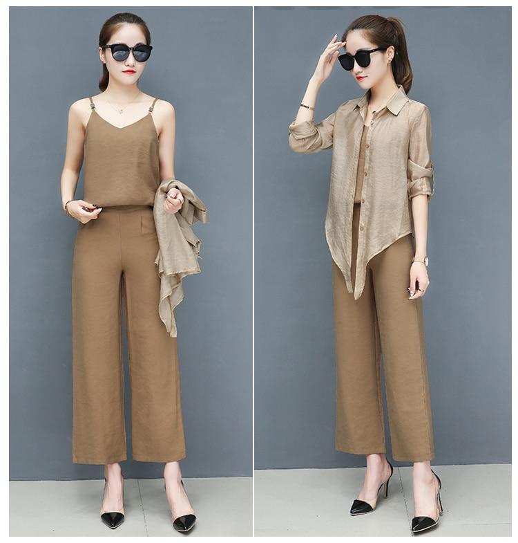 2019 Spring summer women sets office lady elegant chiffon blouse shirts+female wide leg pants trousers pantalon two piece sets 13 Online shopping Bangladesh