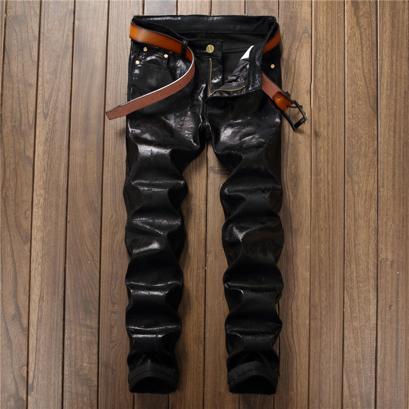 Fashion Shiny Print Black Pants for Men Cotton Denim Trousers Men Slim Fit Micro-stretch Jeans Pants