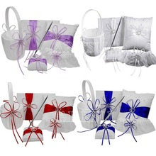 5Pcs/set Satin Wedding Decoration Product Ring Pillow + Flower Basket + Guest Book + Pen Set + Garter Home Decor