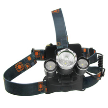 Outdoor XML-T6 3 LEDs Headlight Bicycle Headlamp Miner Light Hunting Fishing Head Flash Light Searchlight with Battery C(China)