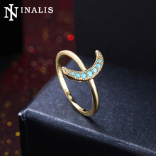 INALIS Gold/Black Gold Color Elegant Cocktail Party Rings for Woman Moon Shape Design Turquoises Stone Jewelry Ring Bague Femme