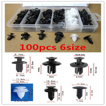 100PCS  Door Panels Bumper Cover Fender Automotive Plastic Fasteners Boxed Kit Auto Fastener Clip Set Auto Fasteners For Cars