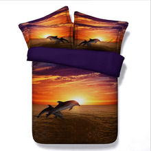 Dolphins 3D Bedding Sets Marine Organism Beddings Animal Comforter Duvet Covers Bedclothes Twin Queen King Size Hot Sale(China)