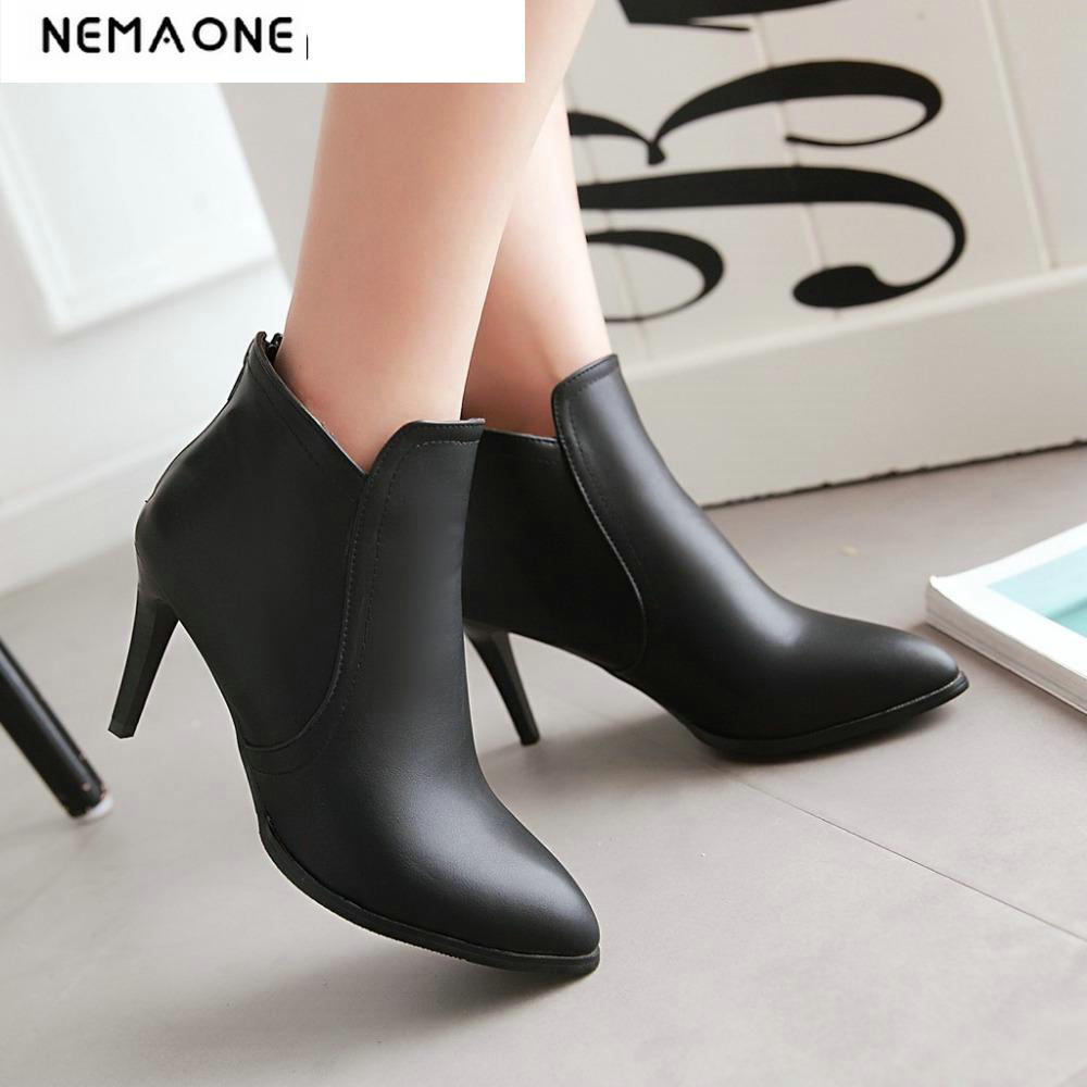 New Ankle Boots Womens Fashion Boots Female Pointed Toe Stiletto High Heel Black Large Size 34.43 Sexy wedding Shoes <br>