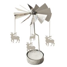 Spinning Rotary Metal Carousel Tea Light Candle Holder Stand Light Xmas Gift