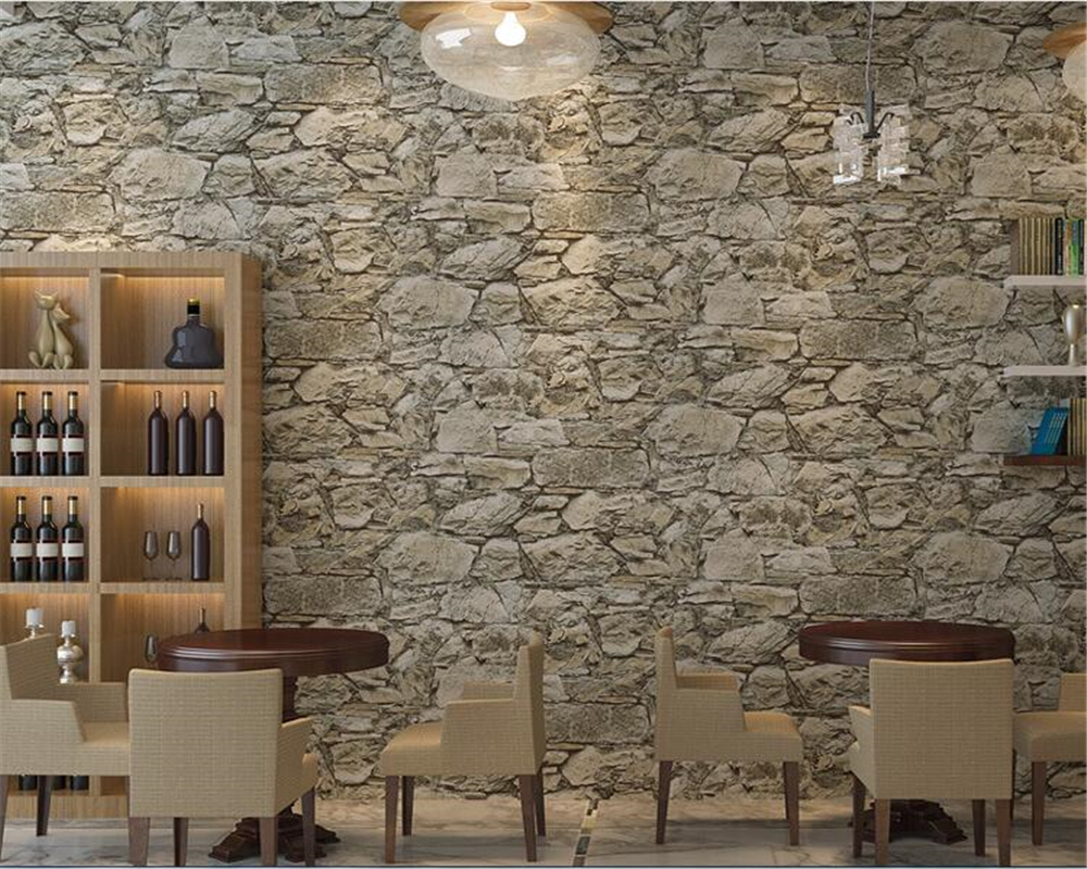 beibehang Vintage old non-woven wallpaper 3d three-dimensional marble texture rock cafe restaurant papel de parede 3d wallpaper<br>