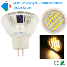 5x led spotlight 5W MR11 ac/dc 12 volts led cup lights smd2835*24leds glass cup bulb light Super Bright Energy Saving  lamps
