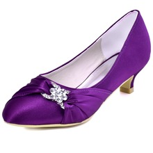 EP2006L Women Shoes Purple Bridal Party Low Heel Comfort Pumps Almond Toe Mary Jane Satin Rhinestones Wedding Shoes