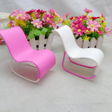 1Pcs New Style Rocking Chair Accessories For Barbie Doll's House Decoration Rocker Pink Toys
