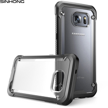 Transparent Armor Shield Shockproof Case For Samsung Galaxy S7 S7 Edge Cover Back Clear Hard Plastic Frosted Soft Silicon Bumper