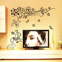 Hot DIY Wall Art Decal Decoration Fashion Romantic Flower Wall Sticker/Wall Stickers Home Decor 3D Wallpaper#T025#(China)