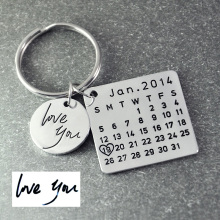Fathers Day Sale,Personalized Calendar Keychain,Signature calendar key chain Hand Stamped Calendar, Date highlighted with heart(China)