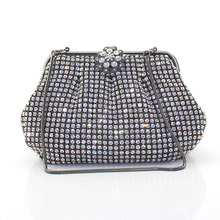 Fashion Luxury Gold Women Evening Clutch Bags Metal Frame Silver Crystal Purse Diamond Hand Bag Chain Wallet(6087-BG)
