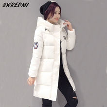 SWREDMI White Winter Coat Women 2017 Hot Sale Long Parka Fashion Students Slim Female Clothing Plus Size S-2XL Thick Jackets