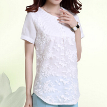 Short-sleeve T-shirt female summer short sleeve t shirt embroidered white shirt women's boutique tops