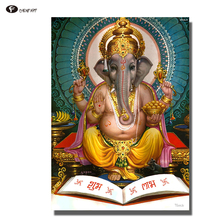CHENFART Canvas Prints Lord Ganesha Oil Painting Buddha Wall Art Canvas Painting for Living Room(China)