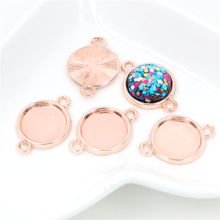 20pcs 12mm Inner Size Rose Gold Simple Style Cabochon Base Cameo Setting Charms Pendant (A2-47)(China)