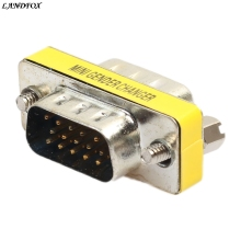 LANDFOX 15 Pin VGA SVGA Gender Changer Adaptor Connector Coupler Male To Female Easy to use and install(China)
