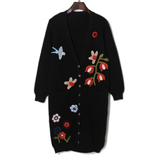 Autumn Thick Thread Flower Embroidered Appliques Knitwear Cardigan Single-Breasted Fashion All Matched Jersey Women's Clothing(China)