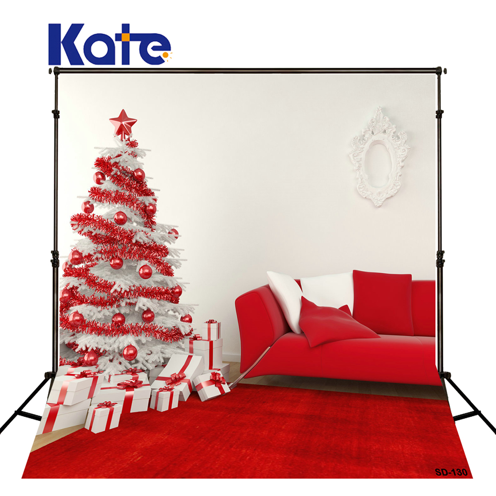 KATE Photography Backdrop Christmas Background Christmas Tree Decorations for Home Red Tapete and Sofa Photo for Photocall Navid<br>