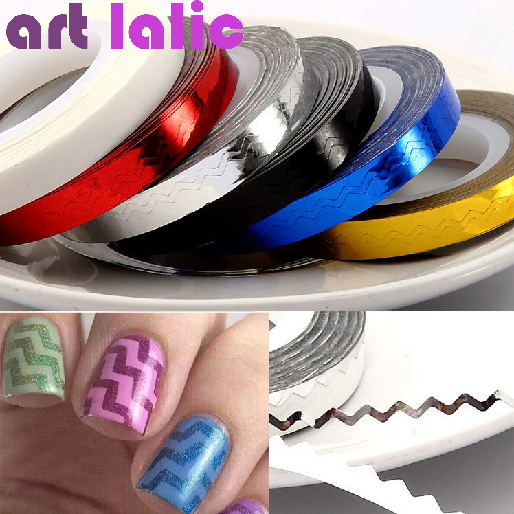 1 Pcs 6 Color 6mm*8m Beauty Rolls Striping Decals For Nails Foil Tips Tape Line DIY Design Nail Art Stickers JH236<br><br>Aliexpress