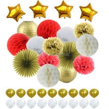 Red White Gold Tissue Paper Pom Poms Honeycomb Balls Lanterns Paper Fan Foil Star&Latex Balloons for Wedding Nursery Decorations