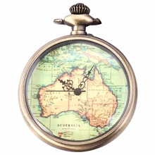 Fashion Retro Vintage Steampunk Australia Map Pattern Pendant Necklace Long Leather Chain Fob Quartz Pocket Watch Gift / WPK132(China)