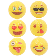 6Pcs/1 Lot golf ball Emoji Faces Novelty Fun Golf Balls lovely face pattern golf ball(China)