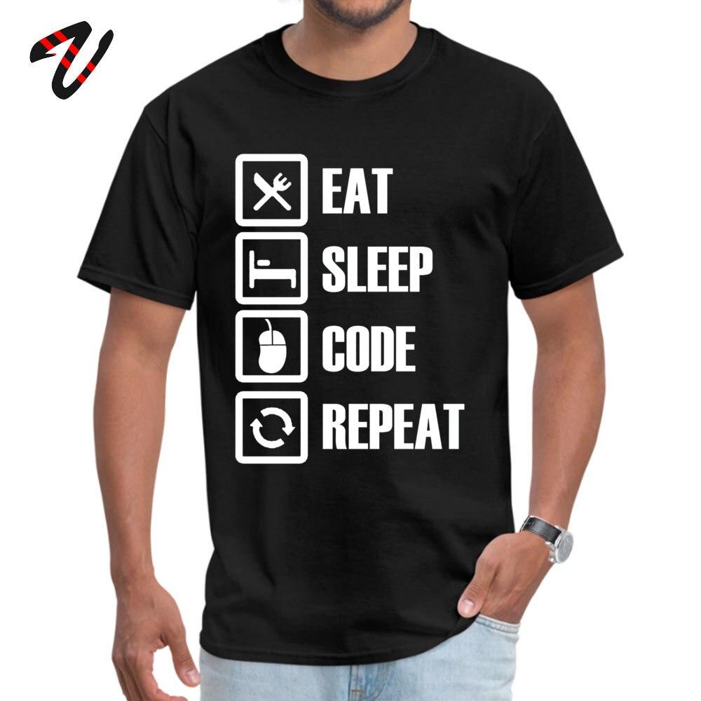 Slim Fit Eat Sleep Code Repeat Round Collar T Shirt Summer/Autumn T Shirt Short Sleeve for Men Brand New Pure Cotton T-shirts Eat Sleep Code Repeat 6179 black