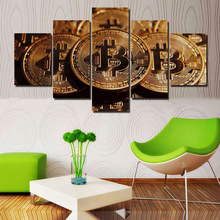 Buy Printing Modern HD Pictures Decoration Home Living Room Wall 5 Pieces Bitcoin Art Posters Framework Modular Canvas Paintings for $5.37 in AliExpress store