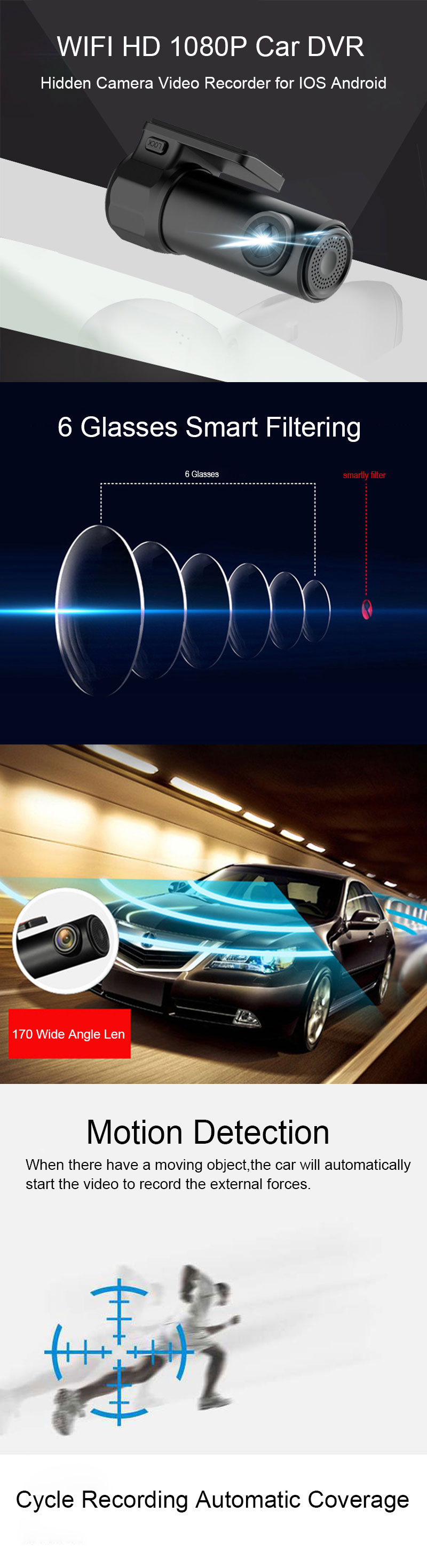 Full HD 1080P WiFi Car DVR Vehicle Camera Dash Cam Night Vision Wide Angle Video Recorder G-Sensor for IOS Android Smartphones 1