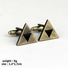 The Legend of Zelda Force Triangle Cufflinks Man Boys Cosplay Jewelry Cuff Buttons Pins for Clothes(China)