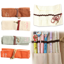 2016 Popular Canvas Bag Holder Wrap Roll Up Stationery Pen Brushes Makeup Pencil Case Pouch Storage Case FP8