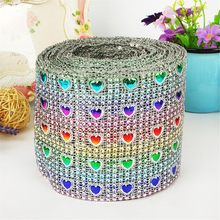 ZLJQ 1 Yard Rainbow Color Heart Sparkle Rhinestone Ribbon Diamond Mesh Wrap Bling Crystal for Wedding Decoration Easter Party 7D
