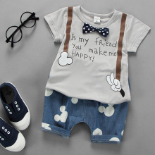 Toddler Boys Girls Clothes Set 2017 Summer Suit   Short-sleeved  Cotton Bowknot Letter T-shirt Cartoon Mickey Shorts