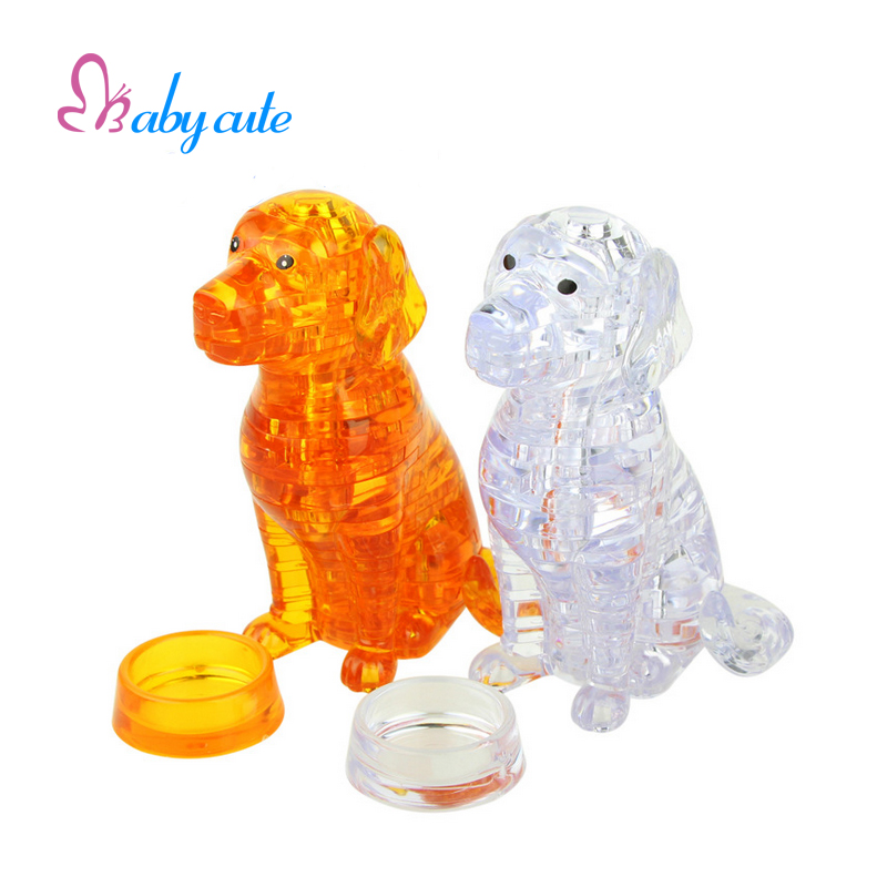 Lovely Dog Puzzle 3D Crystal Puzzle Animal Assembled Model Environmental Friendly Material Jouet Cartoon Puppies DIY Gift(China)