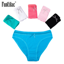 Buy FUNCILAC Sexy Lace Women Underwear Girls Ladies Panties Bow Underpants Fashion Soild Briefs Cotton Shorts Lingerie 5Pcs/Lot