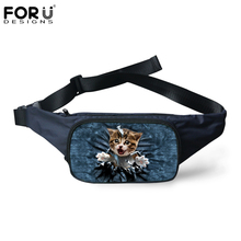 FORUDESIGNS Casual Travel Waist Packs for Women Men Cute Animal Denim Cat Dog Prints Canvas Fanny Pack with Zipper Belt Bags(China)