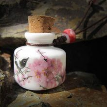 Perfume Bottle Necklace - New Arrival Ceramic Wishing Bottle Perfume Handmade Retro Love Birds In Long Necklace