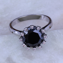 Love Monologue Top Quality Black imitation Onyx & Cubic Zirconia Round Rings, 925 Stamp Silver Color Rings J0216