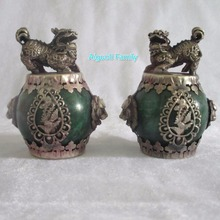 Art collection 1 Pair (2 item) Tibet Silver Green Jade Foo Fu Dog Statue/Chinese Home Decoration FengShui Lion Sculpture(China)