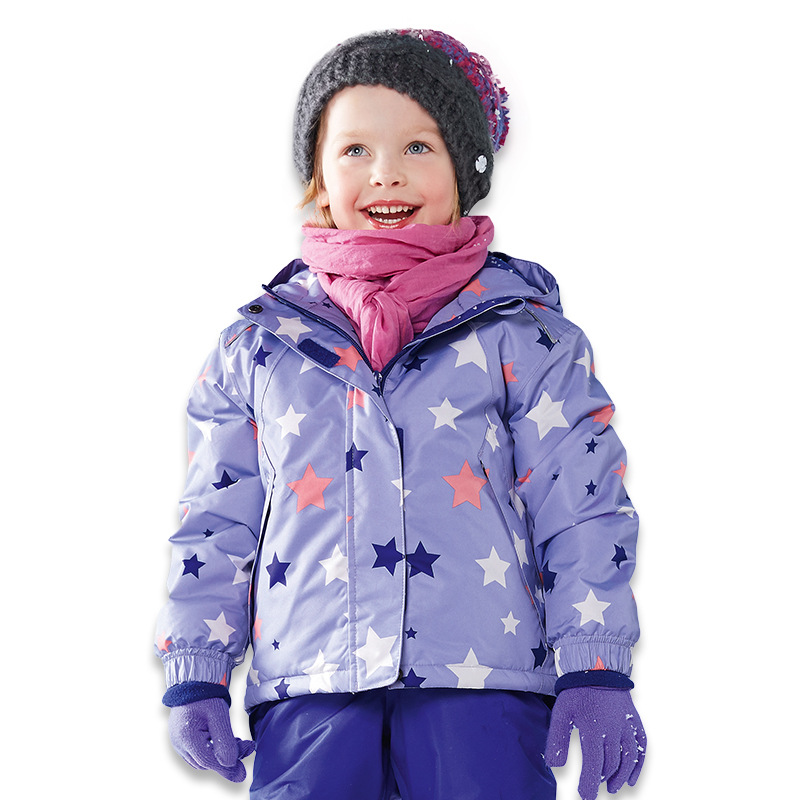 2018 winter girl windproof jacket kids outdoor waterproof cotton jacket ski suit baby coat Hooded Fleece thick coat<br>