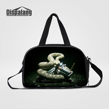 Dispalang Cool Animal Snake With Gun Portable Men Travel Bags For Traveling Canvas Duffle Bag Hand Luggage Overnight Duffel Bags(China)